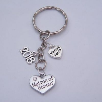Matron Of Honour Keyring - Triple Charm Style